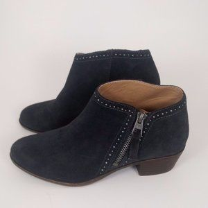Lucky Brand 6 Suede Ankle Booties Blue Studded GUC